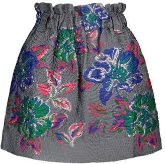 Ganni High-rise jacquard miniskirt