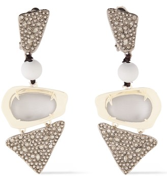 Alexis Bittar Gold And Silver-tone Crystal And Lucite Earrings