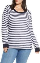 Caslon Rib Trim Stripe Pullover