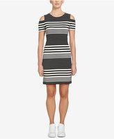 1 STATE 1.STATE Striped Cold-Shoulder Dress