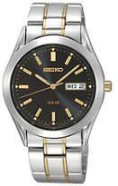 Seiko Men's Solar Two-Tone Watch with Black Di