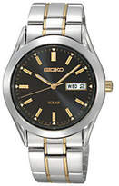 Seiko Men's Solar Two-Tone Watch with Black Dial