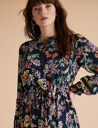 Marks and Spencer Floral High Neck Pintuck Midaxi Smock Dress