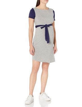 Three Seasons Maternity Women's Maternity Short Sleeve Colorblock Belted Dress
