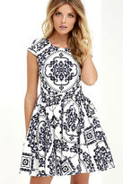 LuLu*s Royal Luxe Ivory Print Dress