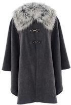 Quiz Grey Faux Fur Trim Cape