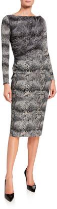 Chiara Boni Snake-Print Long-Sleeve Dress with Sheer Bodice Overlay