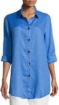 Caroline Rose Tissue Linen Boyfriend Shirt, Plus Size