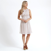 Apricot White & Pink Stripe Structured Dress