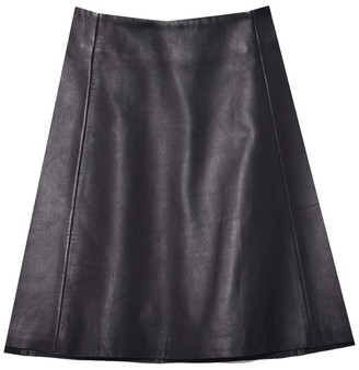 Veda Smooth Leather Circle Skirt in Black