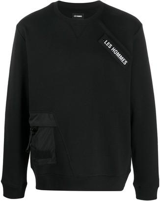 Les Hommes Logo Patch Cotton Sweatshirt