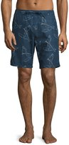 Orlebar Brown Lawrence Paddlin' Print Relaxed-Fit Swim Trunks, Navy