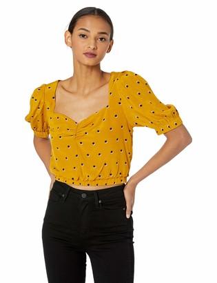 ASTR the Label Women's Drew Short Puff Sleeve Fashion Crop TOP