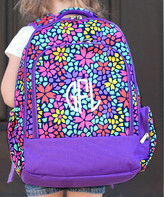 Designs By Two Greek Sisters Designs by Two Greek Sisters Backpacks - Purple Petal Punch Monogram Backpack