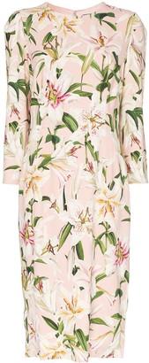 Dolce & Gabbana Cady lily-print midi dress