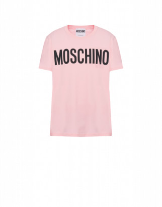 Moschino Cotton T-shirt With Logo Print Man Pink Size 44 It - (34 Us)
