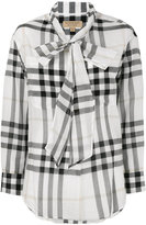 Burberry neck tie plaid shirt - women - Cotton - 6
