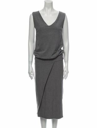 Brunello Cucinelli V-Neck Midi Length Dress Grey