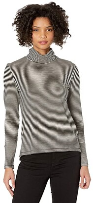 Madewell Whisper Cotton Turtleneck in Stripe (True Black) Women's Clothing