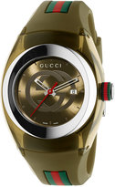 Gucci Sync Unisex Swiss Khaki Rubber Strap Watch 36mm YA137306