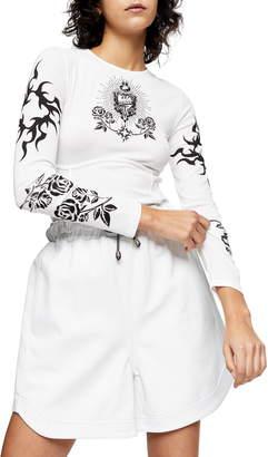Topshop IDOL Tattoo Print Long Sleeve Mesh Top