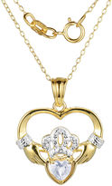 JCPenney FINE JEWELRY Heart-Shaped Genuine White Topaz and Diamond-Accent Claddagh Pendant Necklace