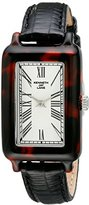 Kenneth Jay Lane Women's KJLANE-0906S-5BLK 900 Series Silver Textured Dial Black Leather Watch