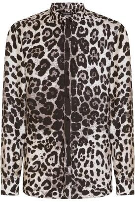 Dolce & Gabbana Silk Leopard Print Shirt