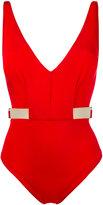 Moeva - metallic trim plunge swimsuit - women - Polyamide/Spandex/Elastane - S