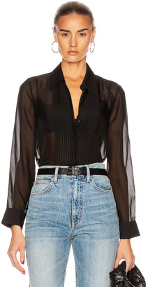 L'Agence Swinton Pintuck Blouse in Black | FWRD