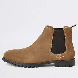 River Island Brown suede wide fit Chelsea boots