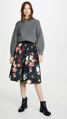 ADAM by Adam Lippes Midi Skirt with Sunburst Pleats