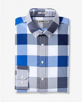 Express Fitted Large Check Button Collar Performance Shirt