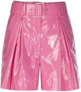 MSGM shiny faux-leather shorts