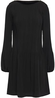 Maje Pleated Crepe De Chine Mini Dress