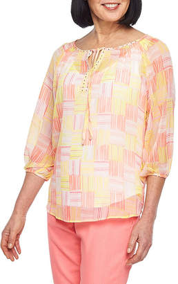 HEARTS OF PALM Hearts Of Palm Blush Strokes Womens Split Crew Neck 3/4 Sleeve Lined Blouse