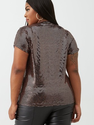 V By Very Curve Sequin Wrap Front Top - Bronze