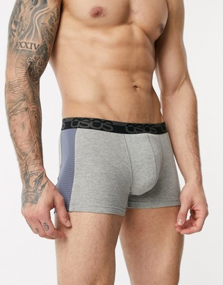 ASOS DESIGN trunk in grey marl with cut and sew mesh