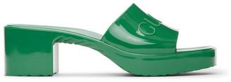 Gucci Green Rubber Logo Mules
