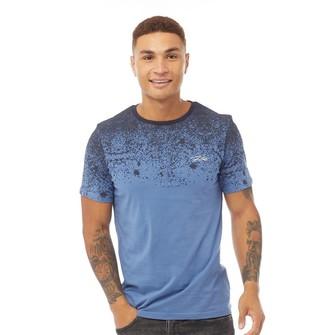 Fluid Mens Graduated Splatter Print T-Shirt Blue/Navy