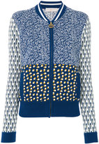 Tory Burch intarsia knit bomber jacket - women - Cotton - M