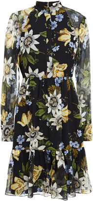 Erdem Devika Fluted Floral-print Silk-voile Dress