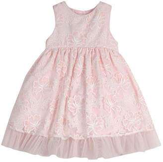 Laura Ashley Girls Sleeveless Embroidered Party Dress
