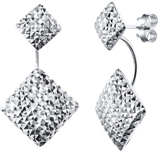 Gold & Honey Double Square Drop Earrings With Diamond Cut