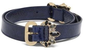 Erdem Crystal-embellished Grained-leather Belt - Navy