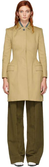 Thom Browne Khaki Bal Collar Hip Padded Coat