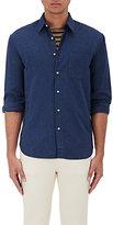 Barneys New York Men's Mélange Cotton Shirt-NAVY