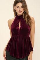 Do & Be Pleasant Praise Burgundy Velvet Peplum Top