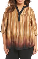 Investments Plus Y Neck Long Sleeve Roll Tab Blouse