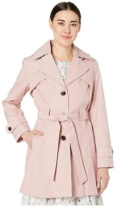 Via Spiga Petite Single Breasted Trench w/ Detachable Hood and Inverted Pleats (Peony) Women's Clothing